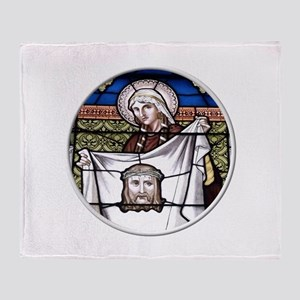 St. Veronica Stained Glass Window Throw Blanket