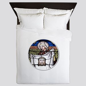 St. Veronica Stained Glass Window Queen Duvet