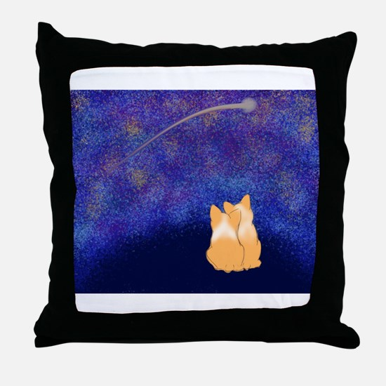 Corgi Night Love Throw Pillow