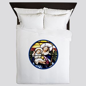 Jesus and Mary Stained Glass Window Queen Duvet