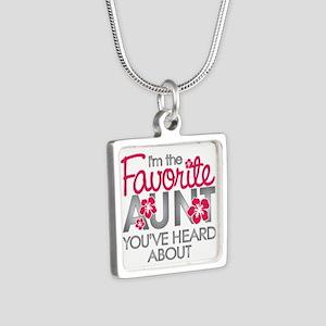 Favorite Aunt Silver Square Necklace