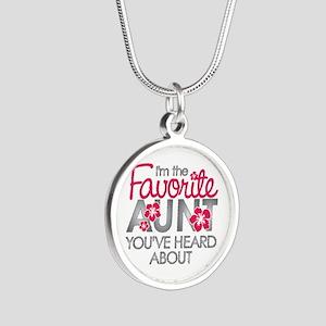 Favorite Aunt Silver Round Necklace