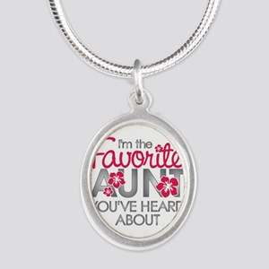 Favorite Aunt Silver Oval Necklace