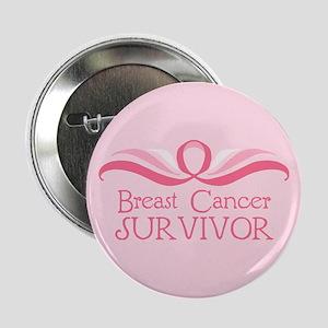 """""""Breast Cancer Survivor Flourish"""" Button"""