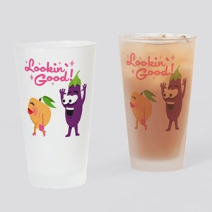 Emoji Eggplant and Peach Lookin' Go Drinking Glass