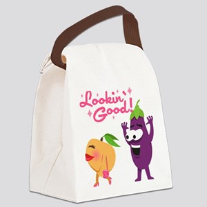 Emoji Eggplant and Peach Lookin' Canvas Lunch Bag
