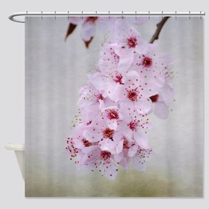 Pink Cherry Blossom Flowers Branch Shower Curtain