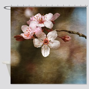 Pretty Pink Cherry Blossom Flowers Shower Curtain