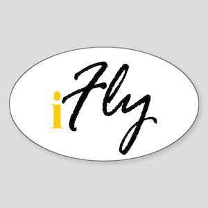 I Fly (black) Oval Sticker