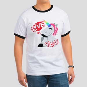 Emoji Unicorn Love You Ringer T