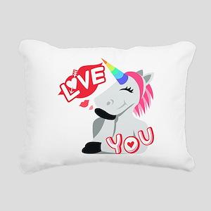 Emoji Unicorn Love You Rectangular Canvas Pillow