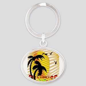 summertime sunrise art illustration Oval Keychain