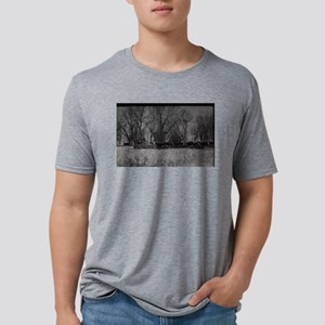 old farm scene with cows an Mens Tri-blend T-Shirt