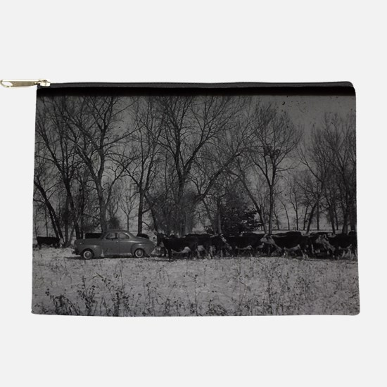 old farm scene with cows and truck Makeup Pouch