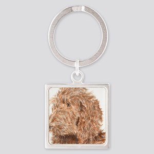 Chocolate Labradoodle 5 Square Keychain
