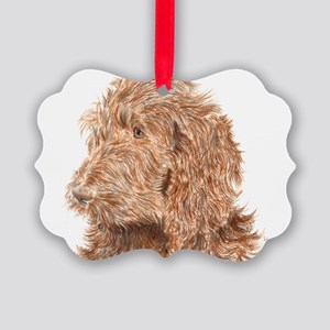 Chocolate Labradoodle 5 Picture Ornament