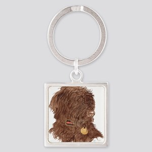 Chocolate Labradoodle Xena Square Keychain