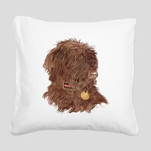 Chocolate Labradoodle Xena Square Canvas Pillow