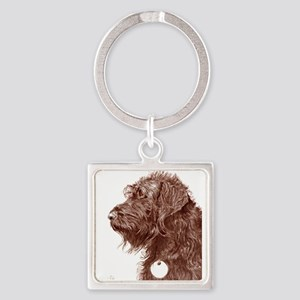 Chocolate Labradoodle 4 Square Keychain