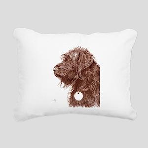 Chocolate Labradoodle 4 Rectangular Canvas Pillow
