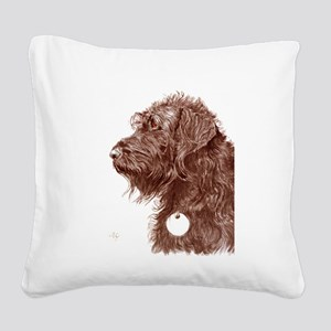 Chocolate Labradoodle 4 Square Canvas Pillow