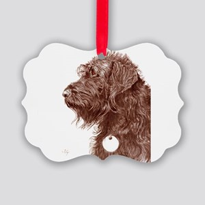 Chocolate Labradoodle 4 Picture Ornament
