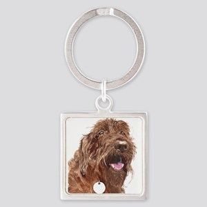 Chocolate Labradoodle3 Square Keychain