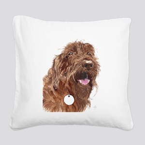 Chocolate Labradoodle3 Square Canvas Pillow