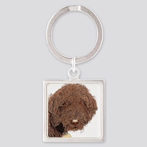 Chocolate Labradoodle 2 Square Keychain