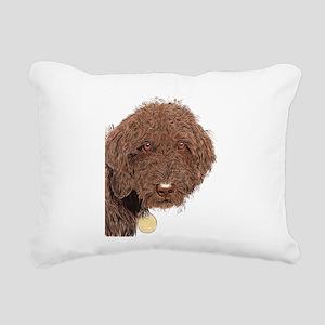 Chocolate Labradoodle 2 Rectangular Canvas Pillow