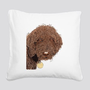 Chocolate Labradoodle 2 Square Canvas Pillow