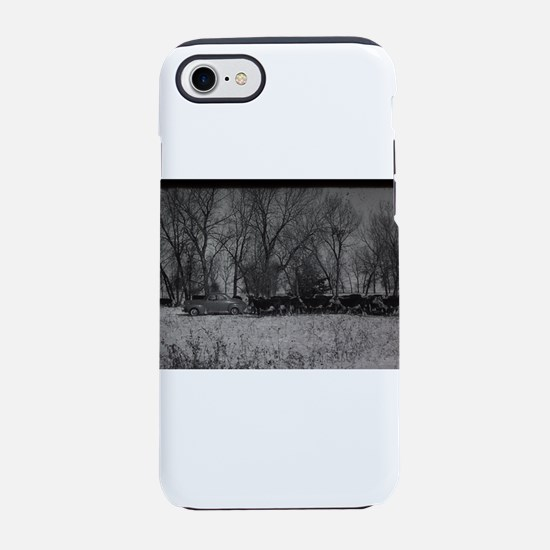 old farm scene with cows and t iPhone 7 Tough Case