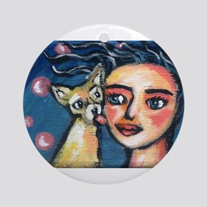 Chihuahua polka dot kiss Ornament (Round)