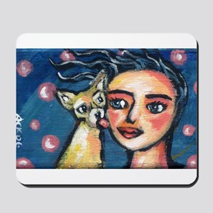 Chihuahua polka dot kiss Mousepad