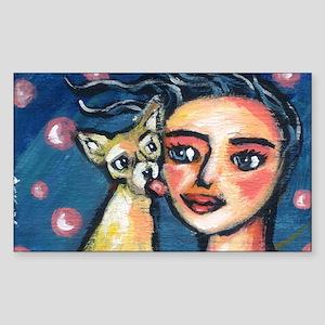 Chihuahua polka dot kiss Rectangle Sticker