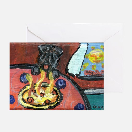 Bouvier pizza eater Greeting Cards (Pk of 10)