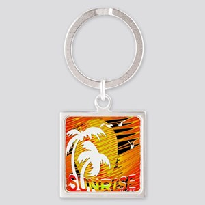 summertime sunrise art illustration Square Keychai
