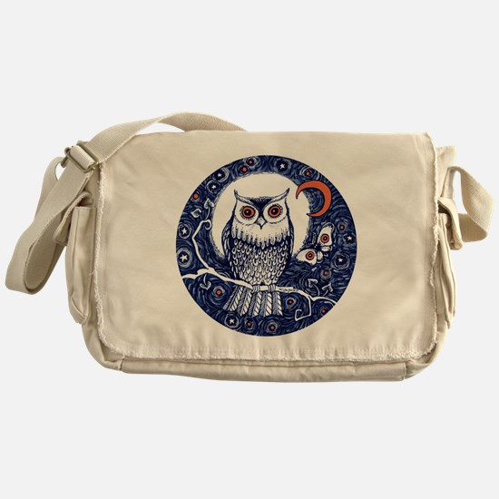 Blue Owl with Moon Messenger Bag