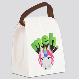 Emoji Unicorn Meh Canvas Lunch Bag