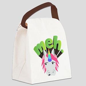 Emoji Unicorn Meh Canvas Lunch Bag