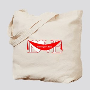 Red Love Heart Banner Tote Bag