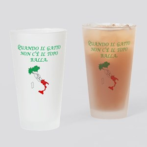 Italian Proverb Cats Away Drinking Glass
