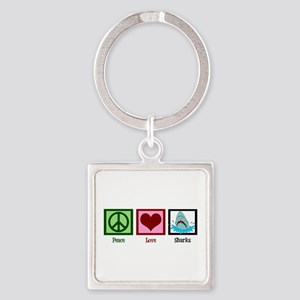 Peace Love Sharks Square Keychain