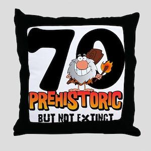 Prehistoric 70th Birthday Throw Pillow