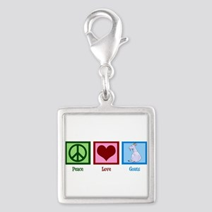 Peace Love Goats Silver Square Charm