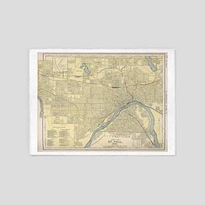 Vintage Map of St. Paul Minnesota ( 5'x7'Area Rug