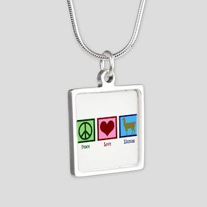 Peace Love Llamas Silver Square Necklace