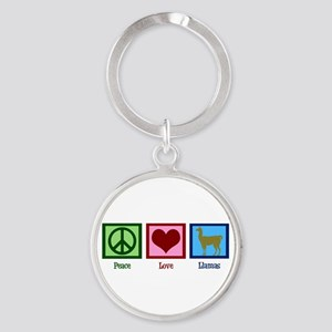 Peace Love Llamas Round Keychain