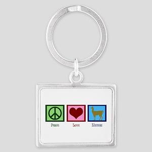 Peace Love Llamas Landscape Keychain