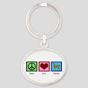 Peace Love Llamas Oval Keychain